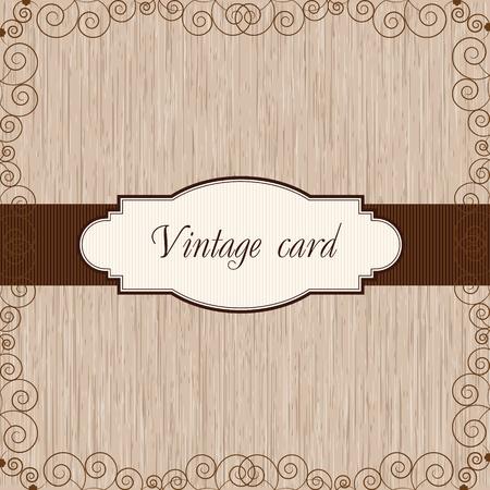 postal vintage: postal del vintage de madera Vectores
