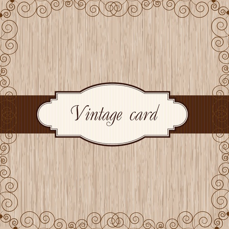 wooden vintage postcard Illustration
