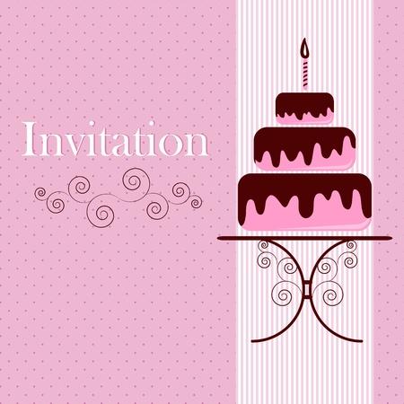 케이크: 케이크와 함께 초대 카드 일러스트