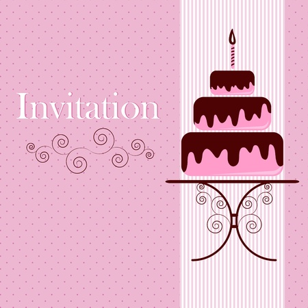 birthday cupcakes: Invitation card with cake Illustration