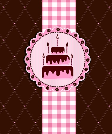 Postcard with cake Stock Vector - 12485785