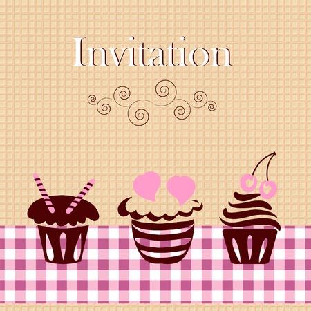 cup cakes: Tarjeta de invitaci�n con las tortas Vectores