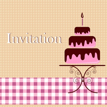 wedding cake: Invitation card with cake Illustration