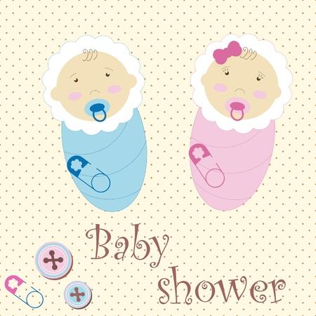 Twins Baby Boy And Girl Ilustración de vector