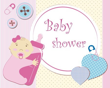 baby shower girl: Baby shower - girl Illustration