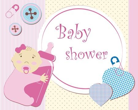 diaper pins: Baby shower - girl Illustration