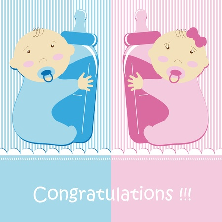 tvillingar: Twins Baby Boy And Girl Illustration