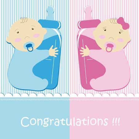 gemelos ni�o y ni�a: Twins Baby Boy And Girl Vectores