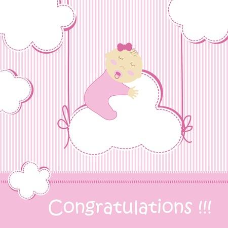 newborn baby girl: Baby shower - girl Illustration