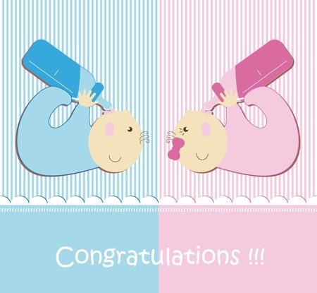 Twin Baby Boy And Girl Vector