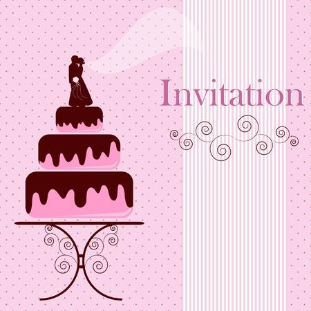 Invitation card with cake Illustration