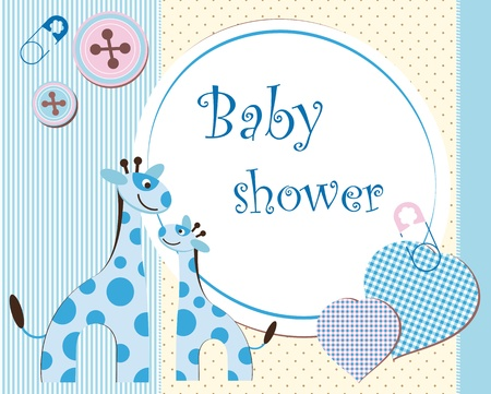 giraffe frame: Baby shower - boy Illustration