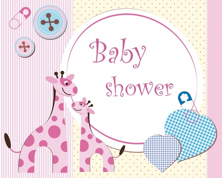 diaper baby: Baby shower - girl Illustration