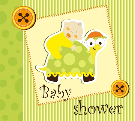 turtles love: Baby shower card - baby sleep on a turtle