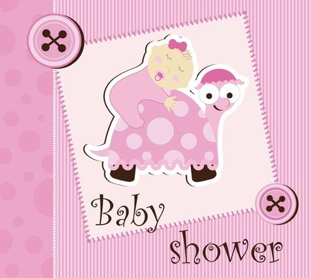 turtles love: Baby shower - girl sleep on a turtle Illustration