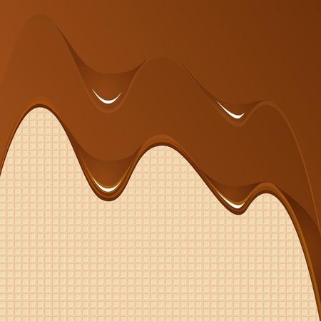 Chocolade achtergrond met wafes Vector Illustratie