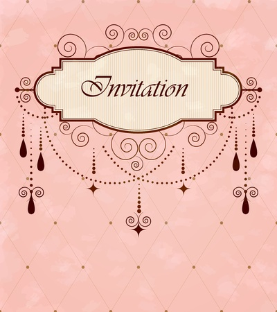 chandelier background: Invitation vintage card Illustration