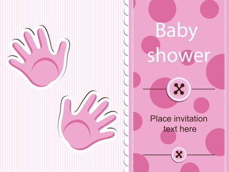 newborn baby girl: Baby shower - girl Illustration