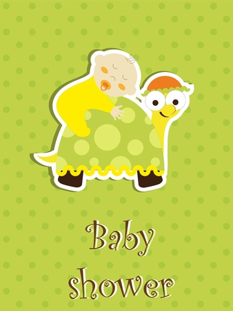 Baby shower card - baby sleep on a turtle Stock Vector - 12486065