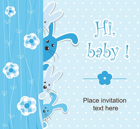 baby rabbit: Baby shower - boy Illustration