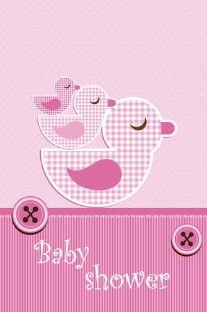 baby girl cartoon: Baby shower - girl Illustration