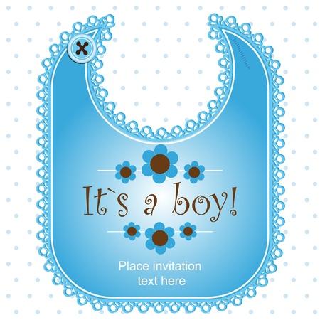 Baby shower kaart met een slabbetje voor een meisje