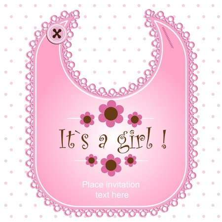 Baby shower card with a bib for a boy