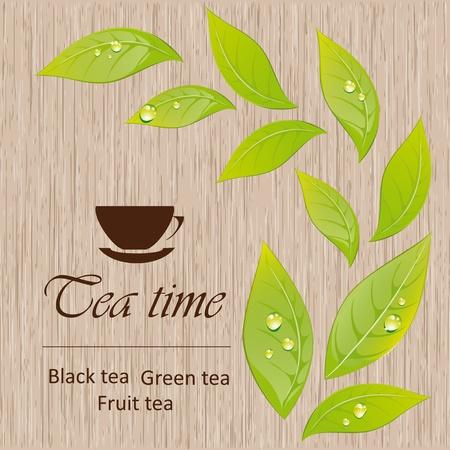 Sjabloon van een thee-menu Vector Illustratie