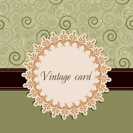 beige: Vintage card Illustration