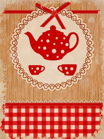 スクラップブッキング: お茶の時間テンプレート  イラスト・ベクター素材