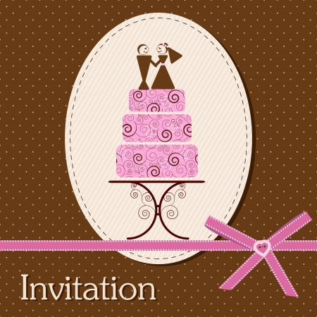 Invitation card with cake Stock Vector - 14024093