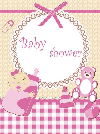 Baby shower - girl Illustration