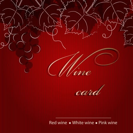 Template of alcohol card with grapes  Vector