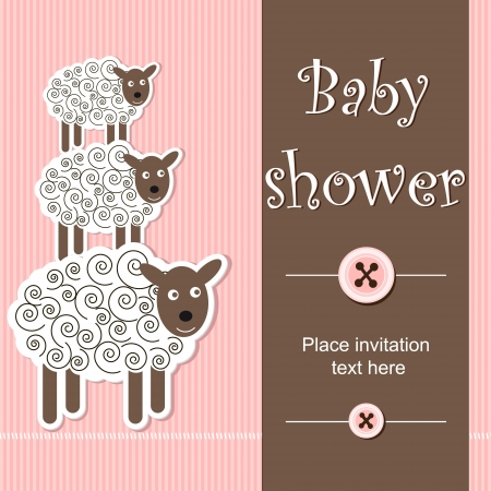 new born baby girl: baby shower - girl Illustration