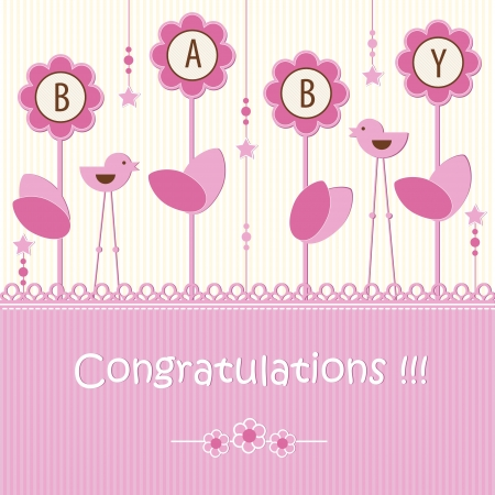 cute baby girls: Baby shower - girl Illustration