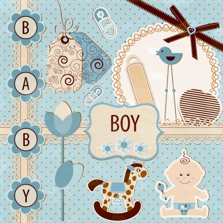 Scrapbook Baby Boy Set Stock Vector - 15309177