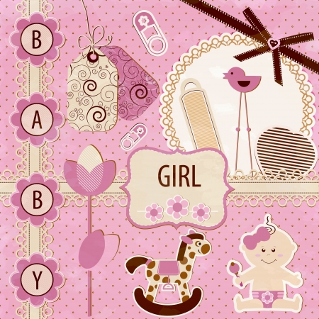 new born baby: Scrapbook Baby girl Set Illustration