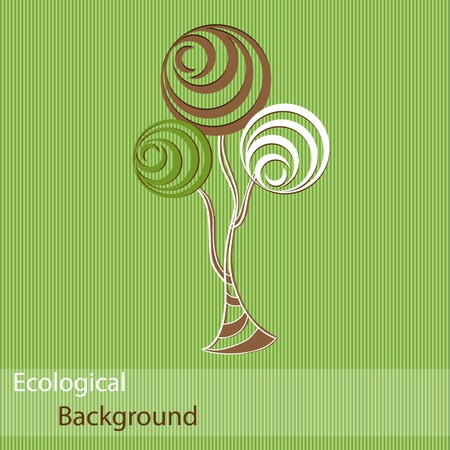 Ecological background with abstract trees Vector