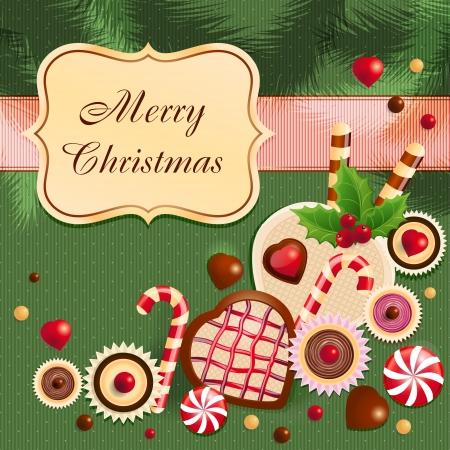 cioccolato natale: Cartolina di Natale Vettoriali