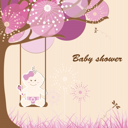 Baby shower - girl Stock Vector - 15559903