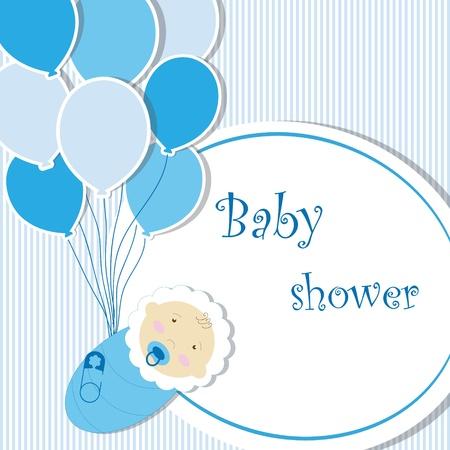 diaper baby: Baby shower - boy Illustration