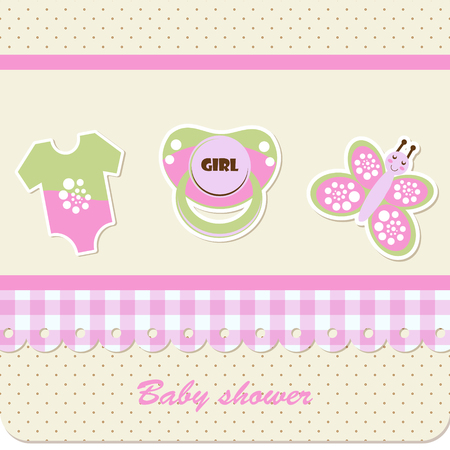 Baby shower - girl Иллюстрация
