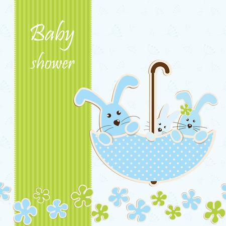 silhouette lapin: Baby shower - gar?on Illustration