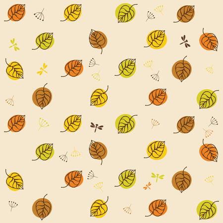 endless repeat structure: Autumn leaves pattern