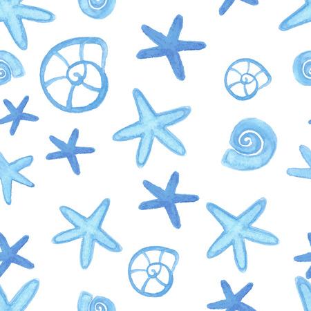 oceanside: Handpaint watercolor starfish seamless for design scrap book paper, textile, web sites, pattern fills