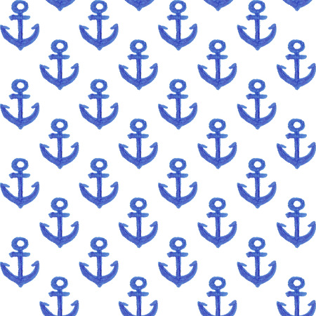 Watercolor anchor pattern for design wrapping paper, scrap booking, textiles, sites Ilustrace