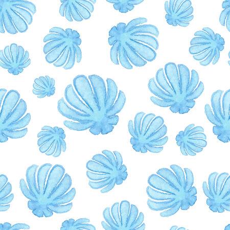 oceanside: Handpaint watercolor shells seamless for design scrap book paper, textile, web sites, pattern fills Illustration