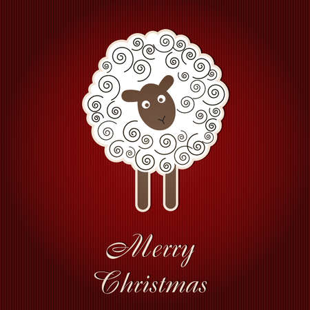 hollyday: Christmas card with sheep Stock Photo