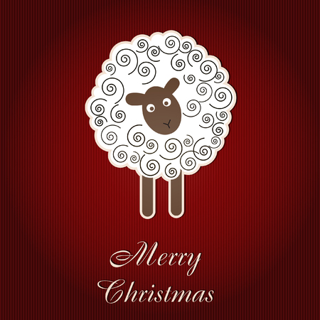 hollyday: Christmas card with sheep Illustration
