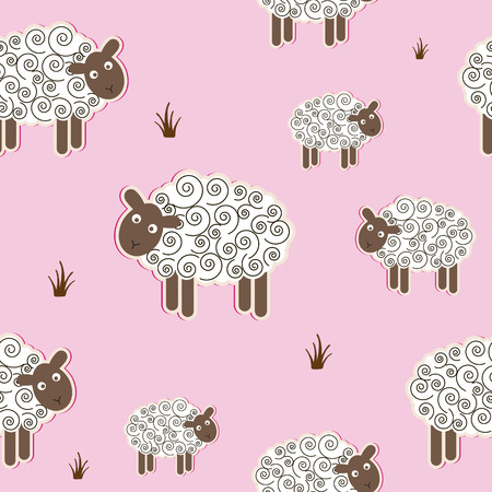Baby shower cartoon pattern with sheep for design of cloth, paper, cards Vector